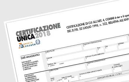 certificazione unica 2018